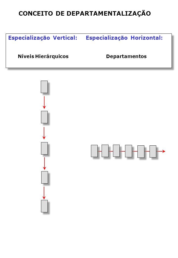 Especialização Vertical: Especialização Horizontal: Níveis Hierárquicos Departamentos Especialização Vertical: Especialização Horizontal: Níveis Hierárquicos Departamentos CONCEITO DE DEPARTAMENTALIZAÇÃO