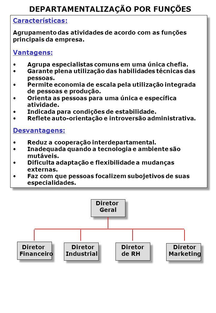 Características: Agrupamento das atividades de acordo com as funções principais da empresa.