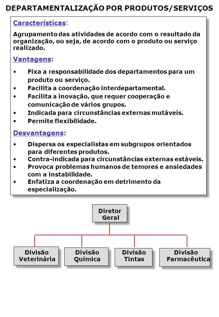 Características : Agrupamento das atividades de acordo com o resultado da organização, ou seja, de acordo com o produto ou serviço realizado.