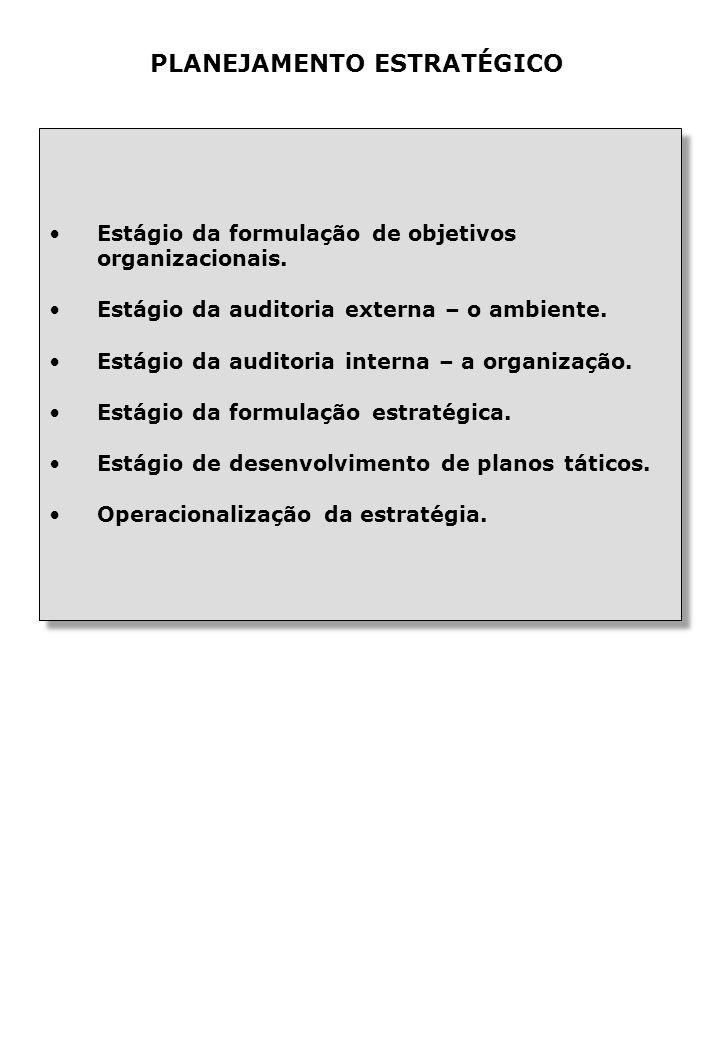 Estágio da formulação de objetivos organizacionais.