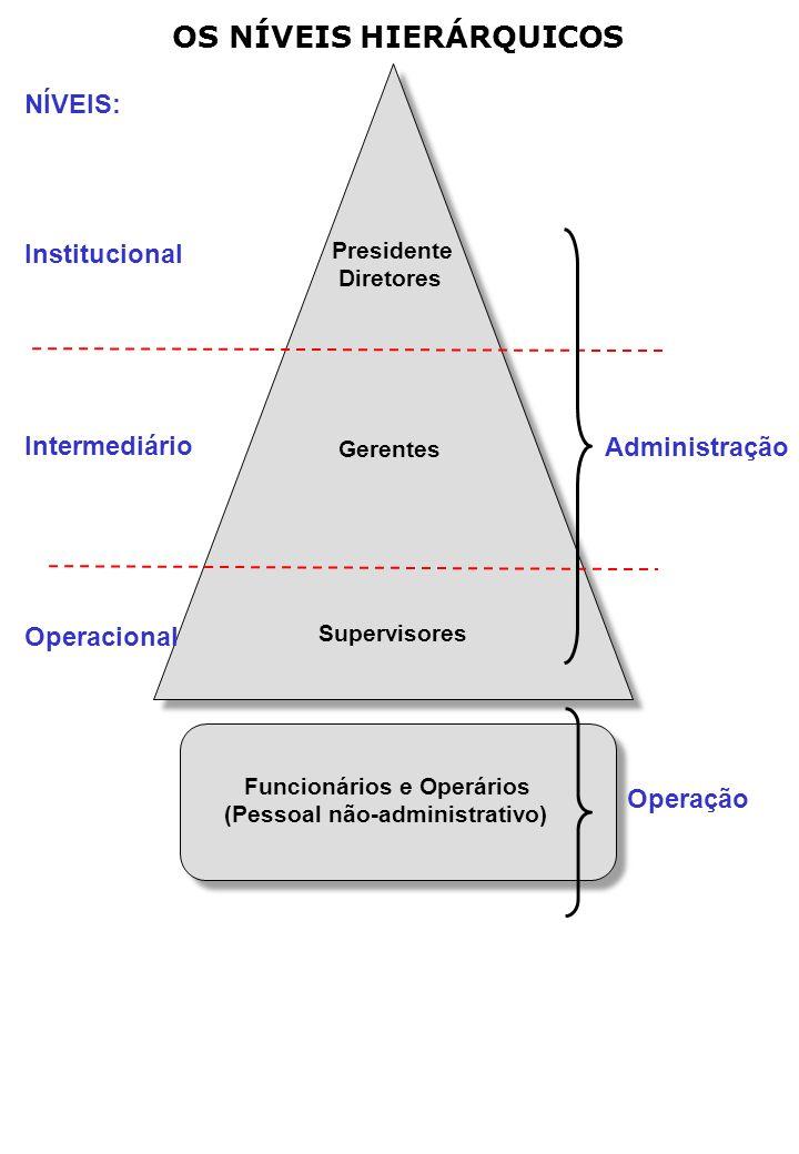 OS NÍVEIS HIERÁRQUICOS NÍVEIS: Institucional Intermediário Operacional Presidente Diretores Gerentes Supervisores Administração Operação Funcionários e Operários (Pessoal não-administrativo)