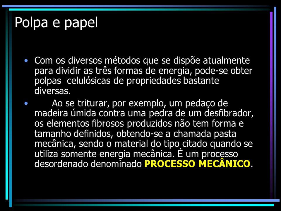 Polpa e papel Com os diversos métodos que se dispõe atualmente para dividir as três formas de energia, pode-se obter polpas celulósicas de propriedade