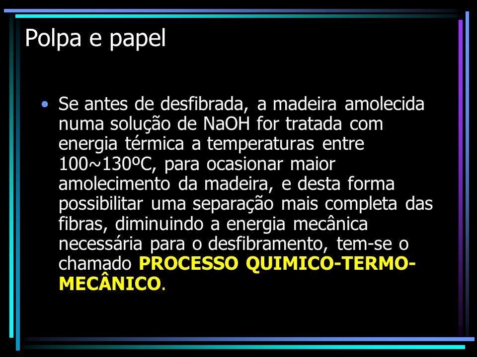 Polpa e papel Se antes de desfibrada, a madeira amolecida numa solução de NaOH for tratada com energia térmica a temperaturas entre 100~130ºC, para oc