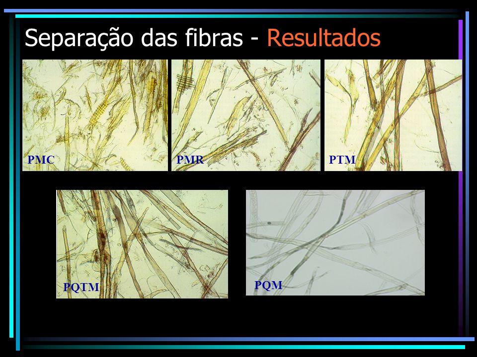 Separação das fibras - Resultados PMC PMRPTM PQTM PQM