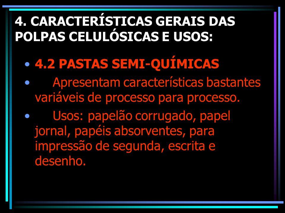 4. CARACTERÍSTICAS GERAIS DAS POLPAS CELULÓSICAS E USOS: 4.2 PASTAS SEMI-QUÍMICAS Apresentam características bastantes variáveis de processo para proc