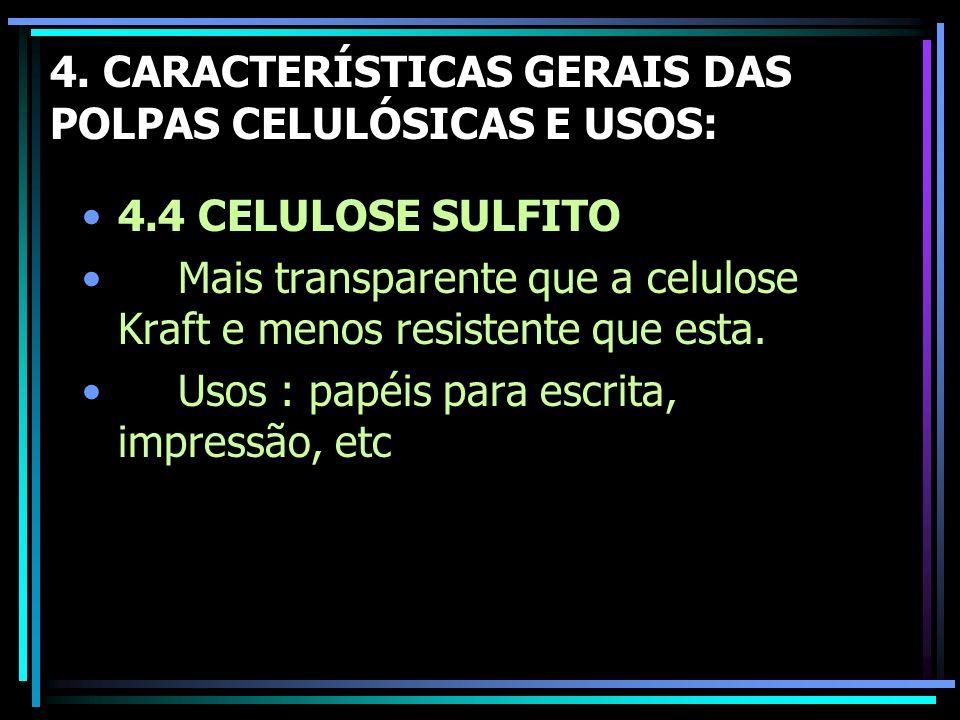 4. CARACTERÍSTICAS GERAIS DAS POLPAS CELULÓSICAS E USOS: 4.4 CELULOSE SULFITO Mais transparente que a celulose Kraft e menos resistente que esta. Usos