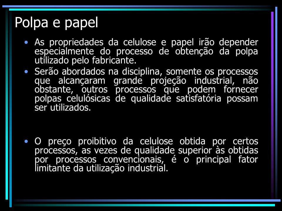 Polpa e papel As propriedades da celulose e papel irão depender especialmente do processo de obtenção da polpa utilizado pelo fabricante. Serão aborda