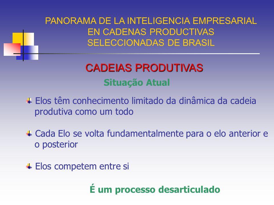 PANORAMA DE LA INTELIGENCIA EMPRESARIAL EN CADENAS PRODUCTIVAS SELECCIONADAS DE BRASIL Cadeia Produtiva da Indústria Eletroeletrônica PIB : 1,12 % 230.000 empregos Exportação (exportado/produção) 10,42% Importação (exportado/produção) 50,15% Faturamento: 37 bilhões O mais importante segmento de mercado Mercado mundial US$ 3,5 trilhões Semicondutores US$ 200 bilhões e o Brasil US$ 70 milhões