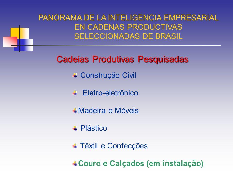 PANORAMA DE LA INTELIGENCIA EMPRESARIAL EN CADENAS PRODUCTIVAS SELECCIONADAS DE BRASIL Cadeia Produtiva da Indústria do Couro e Calçado Artefatos de Couro e de outros materiais Indústria Moveleira em Couro Indústria de Confecções em Couro Componentes em Couro para Indústria Automotiva e Aeronáutica Produtos Químicos Importação de Couro Indústria de Componentes Artefatos de Outros Materiais Calçados de Outros Materiais Máquinas e Equipamentos Calçados de Couro Pecuária de Corte FrigoríficoCurtumes Coureiro Outros tipos de Couros e Peles