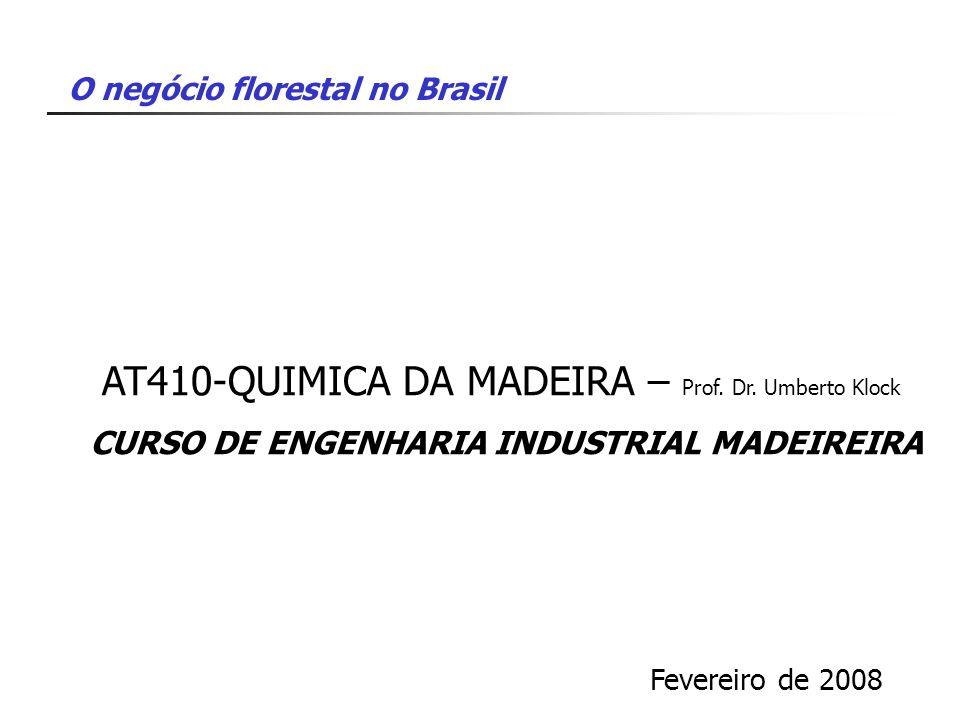O negócio florestal no Brasil AT410-QUIMICA DA MADEIRA – Prof. Dr. Umberto Klock CURSO DE ENGENHARIA INDUSTRIAL MADEIREIRA Fevereiro de 2008