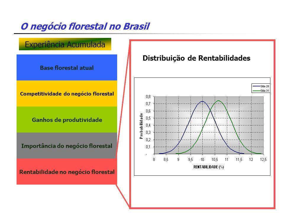 O negócio florestal no Brasil Base florestal atual Competitividade do negócio florestal Ganhos de produtividade Importância do negócio florestal Renta