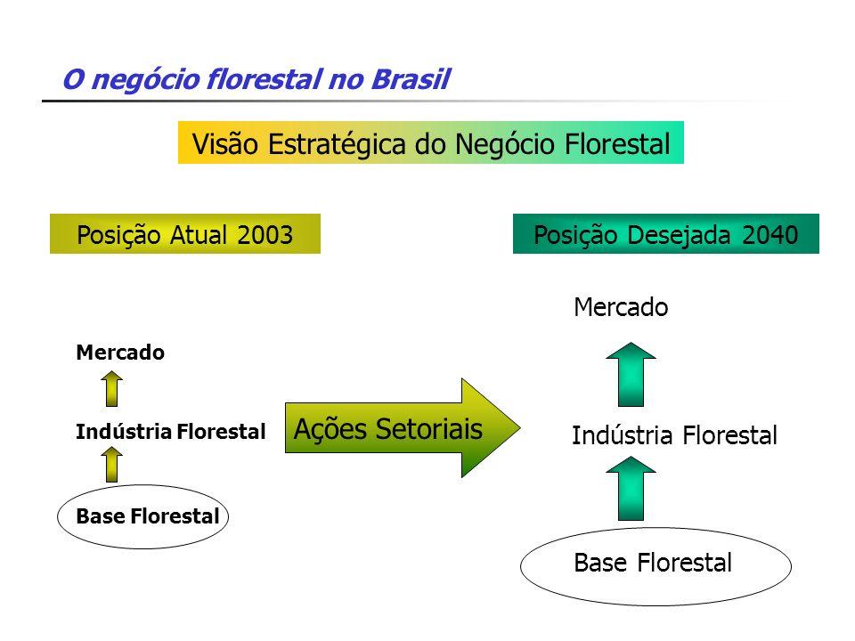 O negócio florestal no Brasil Visão Estratégica do Negócio Florestal Ações Setoriais Mercado Indústria Florestal Base Florestal Posição Atual 2003 Mer