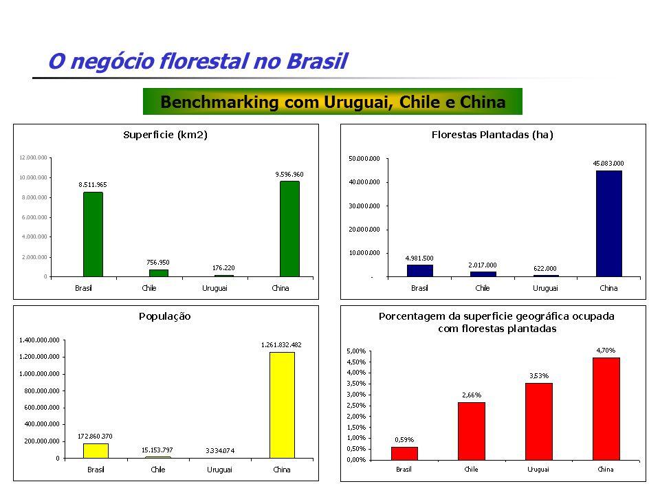 O negócio florestal no Brasil Benchmarking com Uruguai, Chile e China