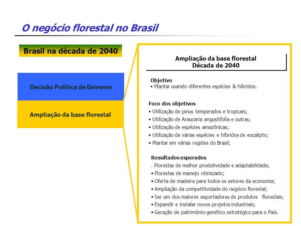 O negócio florestal no Brasil Decisão Política de Governo Ampliação da base florestal Década de 2040 Ampliação da base florestal Década de 2040 Foco d