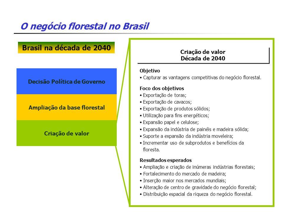 O negócio florestal no Brasil Decisão Política de Governo Criação de valor Década de 2040 Criação de valor Década de 2040 Foco dos objetivos Exportaçã