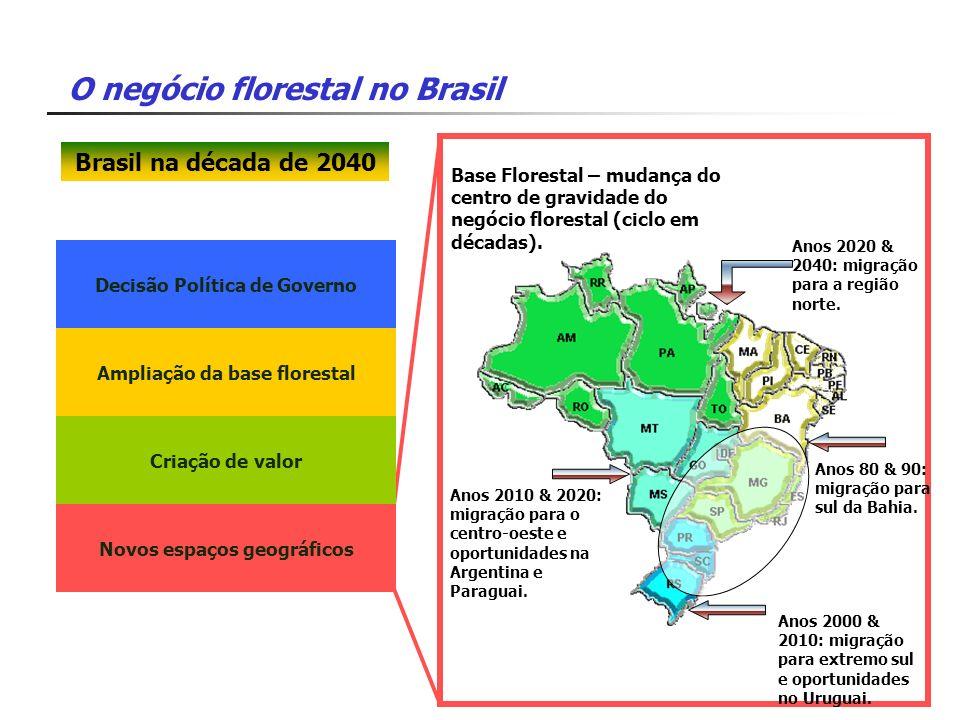O negócio florestal no Brasil Decisão Política de Governo Ampliação da base florestal Criação de valor Novos espaços geográficos Base Florestal – muda