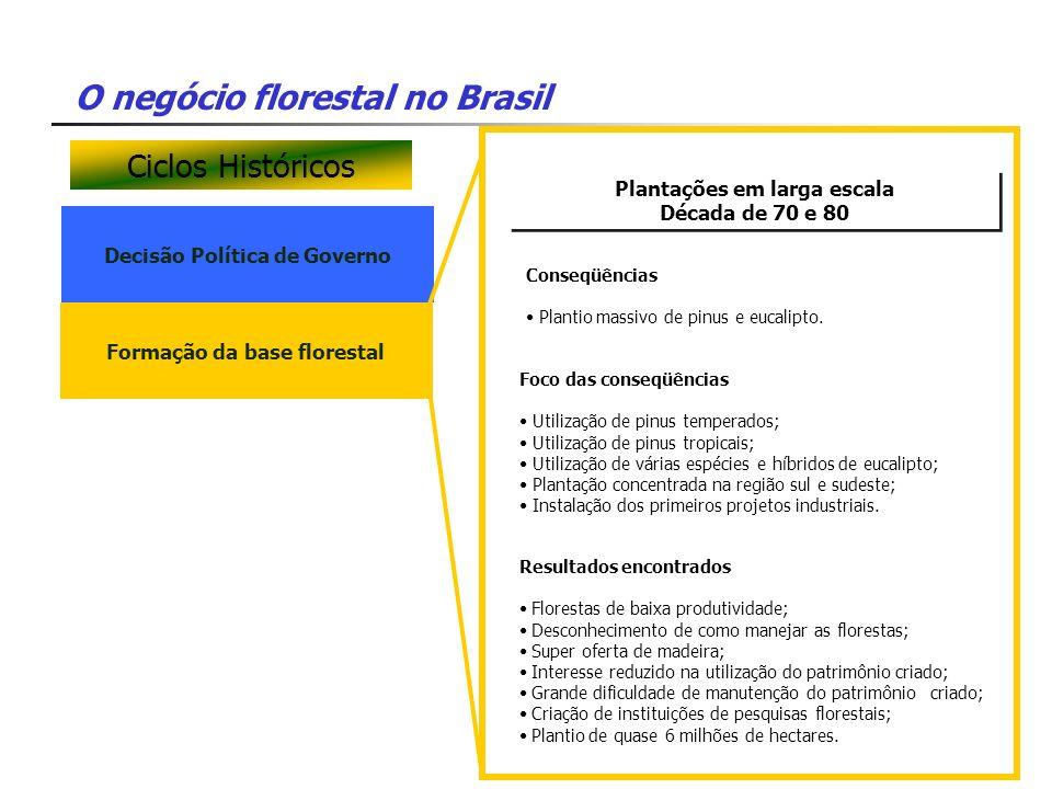 O negócio florestal no Brasil Decisão Política de Governo Plantações em larga escala Década de 70 e 80 Plantações em larga escala Década de 70 e 80 Fo