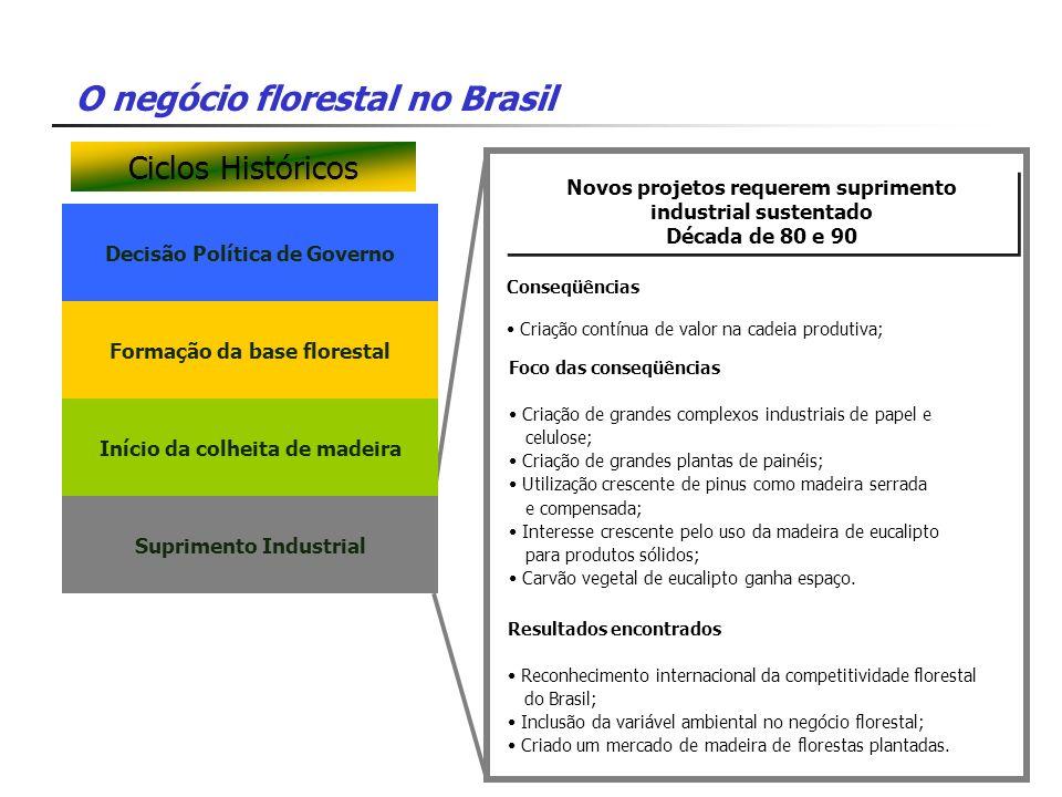 O negócio florestal no Brasil Decisão Política de Governo Novos projetos requerem suprimento industrial sustentado Década de 80 e 90 Novos projetos re