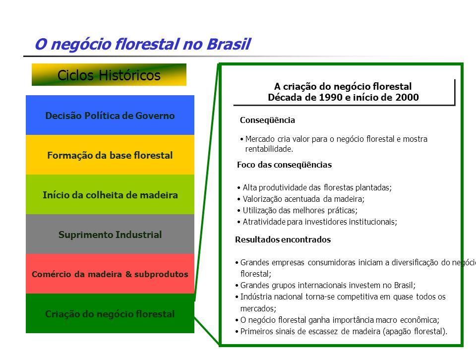 O negócio florestal no Brasil Decisão Política de Governo A criação do negócio florestal Década de 1990 e início de 2000 A criação do negócio floresta