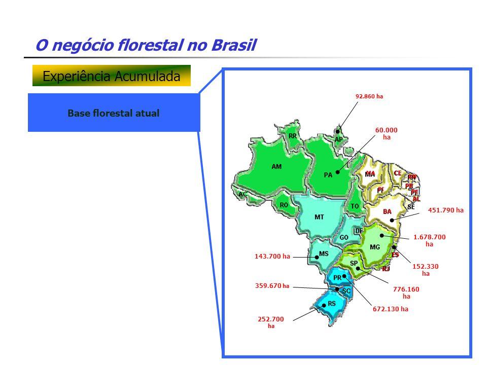 O negócio florestal no Brasil Base florestal atual 143.700 ha 92.860 ha 60.000 ha 1.678.700 ha 152.330 ha 776.160 ha 672.130 ha 359.670 ha 252.700 ha