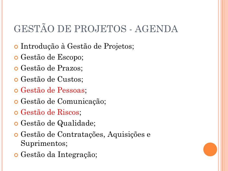 GESTÃO DE PROJETOS - AGENDA Introdução à Gestão de Projetos; Gestão de Escopo; Gestão de Prazos; Gestão de Custos; Gestão de Pessoas; Gestão de Comuni