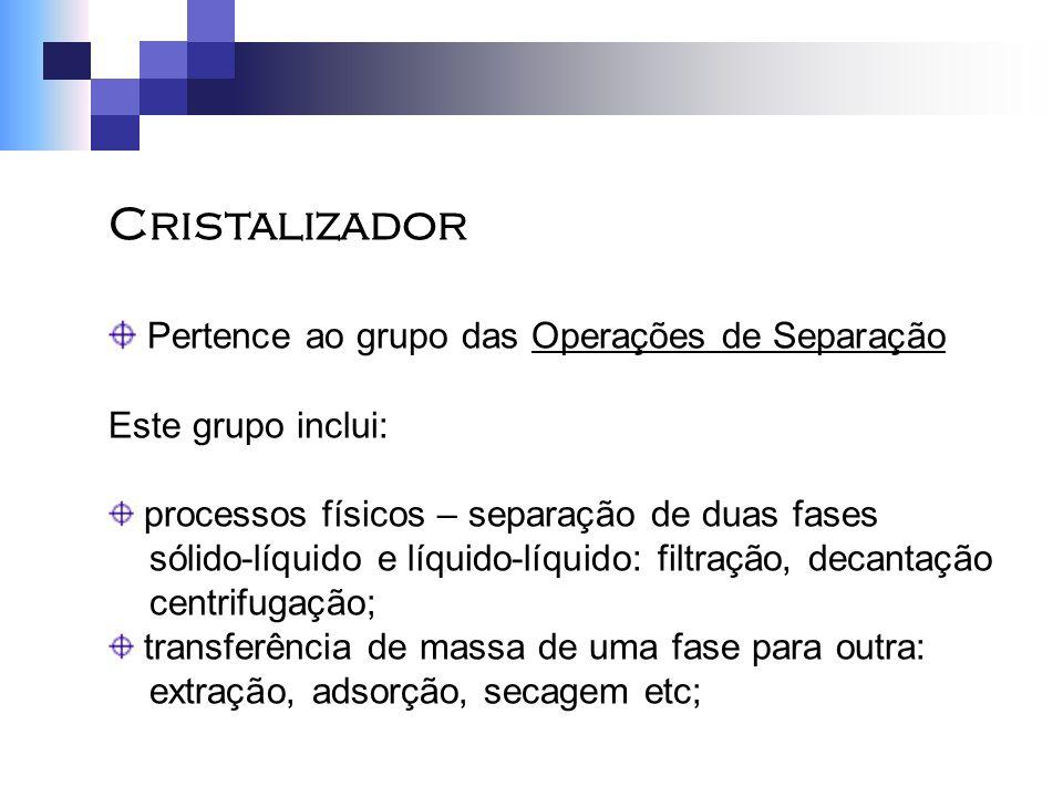 Cristalizador Pertence ao grupo das Operações de Separação Este grupo inclui: processos físicos – separação de duas fases sólido-líquido e líquido-líq