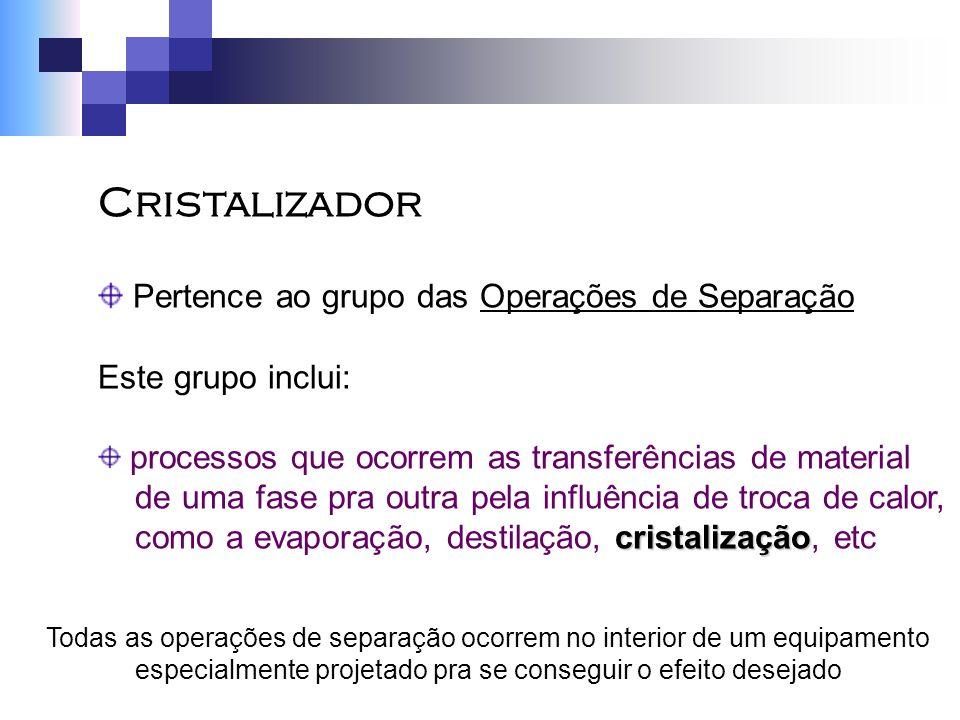 Cristalizador Pertence ao grupo das Operações de Separação Este grupo inclui: processos que ocorrem as transferências de material de uma fase pra outr