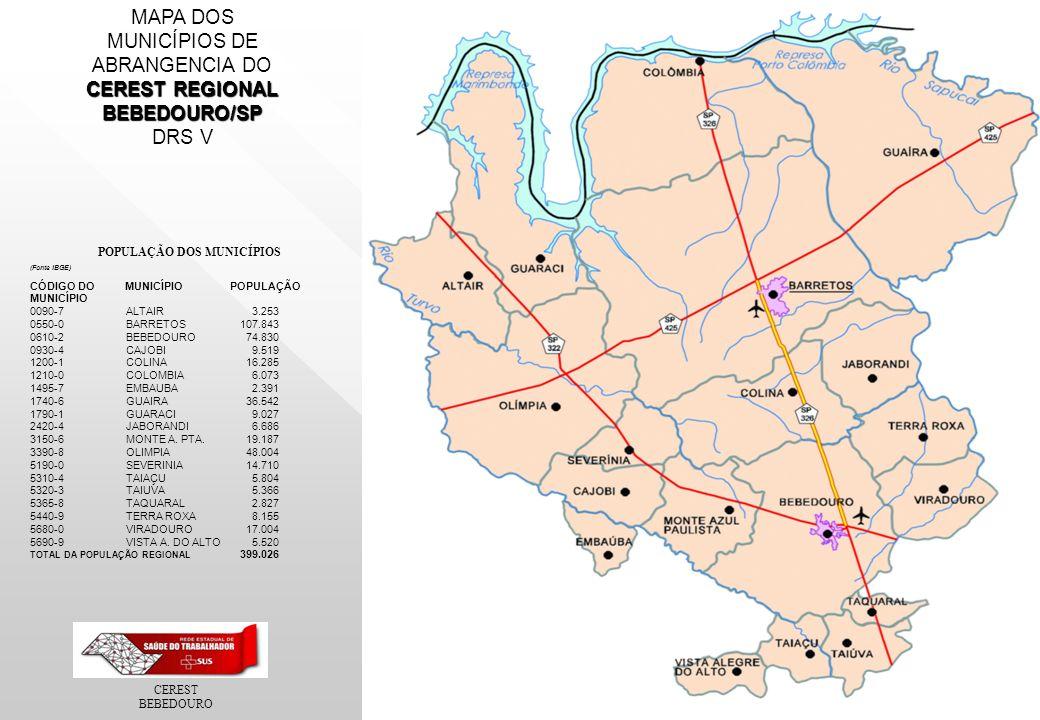 CEREST BEBEDOURO MAPA DOS MUNICÍPIOS DE ABRANGENCIA DO CEREST REGIONAL BEBEDOURO/SP DRS V POPULAÇÃO DOS MUNICÍPIOS (Fonte IBGE) CÓDIGO DO MUNICÍPIO POPULAÇÃO MUNICÍPIO 0090-7ALTAIR 3.253 0550-0BARRETOS 107.843 0610-2BEBEDOURO 74.830 0930-4CAJOBI 9.519 1200-1COLINA 16.285 1210-0COLOMBIA 6.073 1495-7EMBAUBA 2.391 1740-6GUAIRA 36.542 1790-1GUARACI 9.027 2420-4JABORANDI 6.686 3150-6MONTE A.