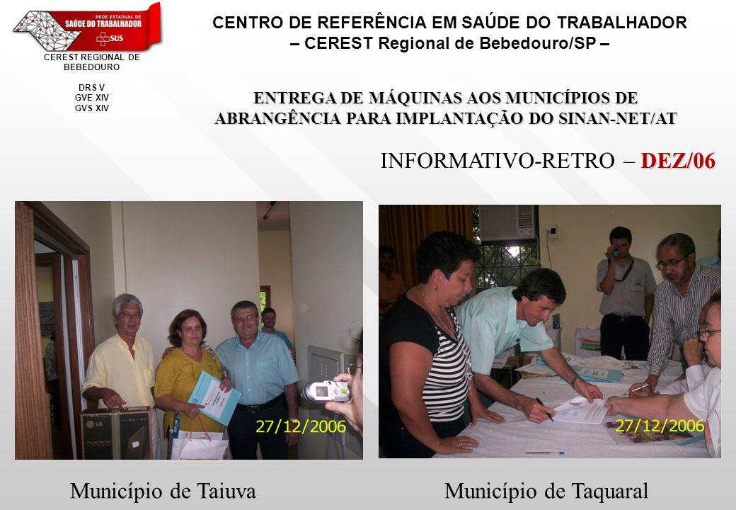 CENTRO DE REFERÊNCIA EM SAÚDE DO TRABALHADOR – CEREST Regional de Bebedouro/SP – CEREST REGIONAL DE BEBEDOURO DRS V GVE XIV GVS XIV ENTREGA DE MÁQUINAS AOS MUNICÍPIOS DE ABRANGÊNCIA PARA IMPLANTAÇÃO DO SINAN-NET/AT DEZ/06 INFORMATIVO-RETRO – DEZ/06 Município de TaiuvaMunicípio de Taquaral