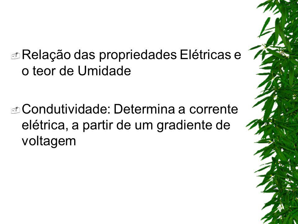 Relação das propriedades Elétricas e o teor de Umidade Condutividade: Determina a corrente elétrica, a partir de um gradiente de voltagem