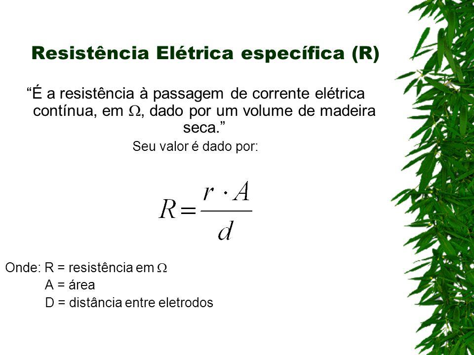 Resistência Elétrica específica (R) É a resistência à passagem de corrente elétrica contínua, em, dado por um volume de madeira seca. Seu valor é dado