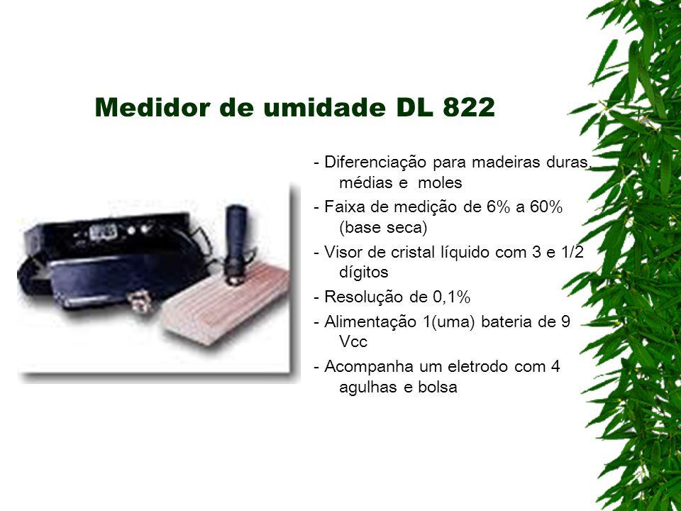 Medidor de umidade DL 822 - Diferenciação para madeiras duras, médias e moles - Faixa de medição de 6% a 60% (base seca) - Visor de cristal líquido co