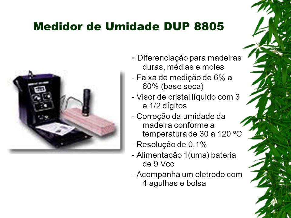 Medidor de Umidade DUP 8805 - Diferenciação para madeiras duras, médias e moles - Faixa de medição de 6% a 60% (base seca) - Visor de cristal líquido