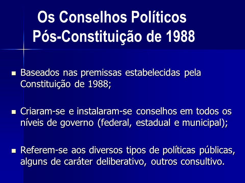 Baseados nas premissas estabelecidas pela Constituição de 1988; Baseados nas premissas estabelecidas pela Constituição de 1988; Criaram-se e instalara