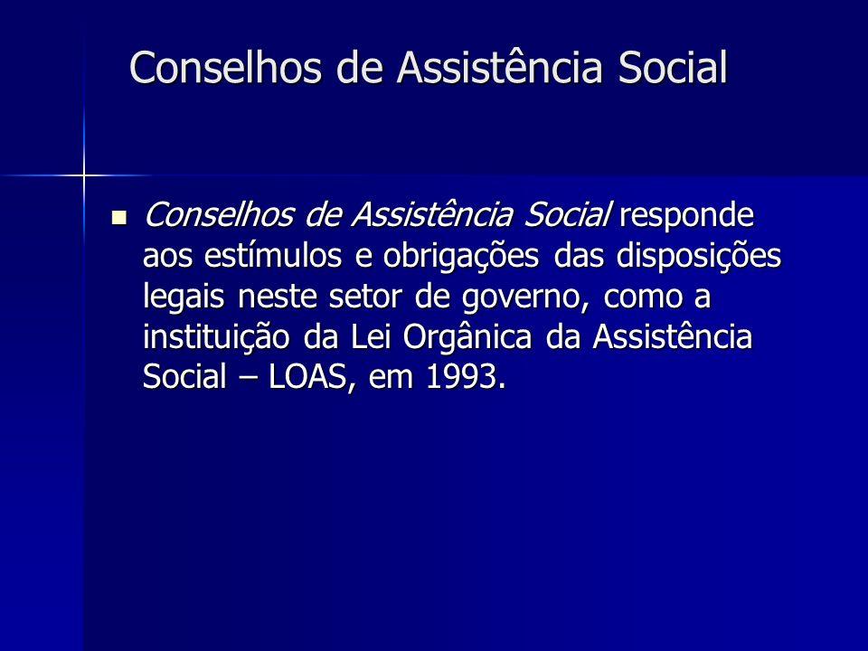 Conselhos de Assistência Social responde aos estímulos e obrigações das disposições legais neste setor de governo, como a instituição da Lei Orgânica