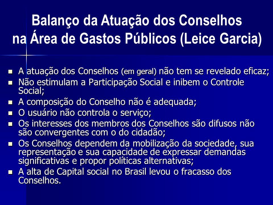 A atuação dos Conselhos (em geral) não tem se revelado eficaz; A atuação dos Conselhos (em geral) não tem se revelado eficaz; Não estimulam a Particip