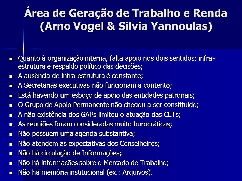 Área de Geração de Trabalho e Renda (Arno Vogel & Silvia Yannoulas) Quanto à organização interna, falta apoio nos dois sentidos: infra- estrutura e re