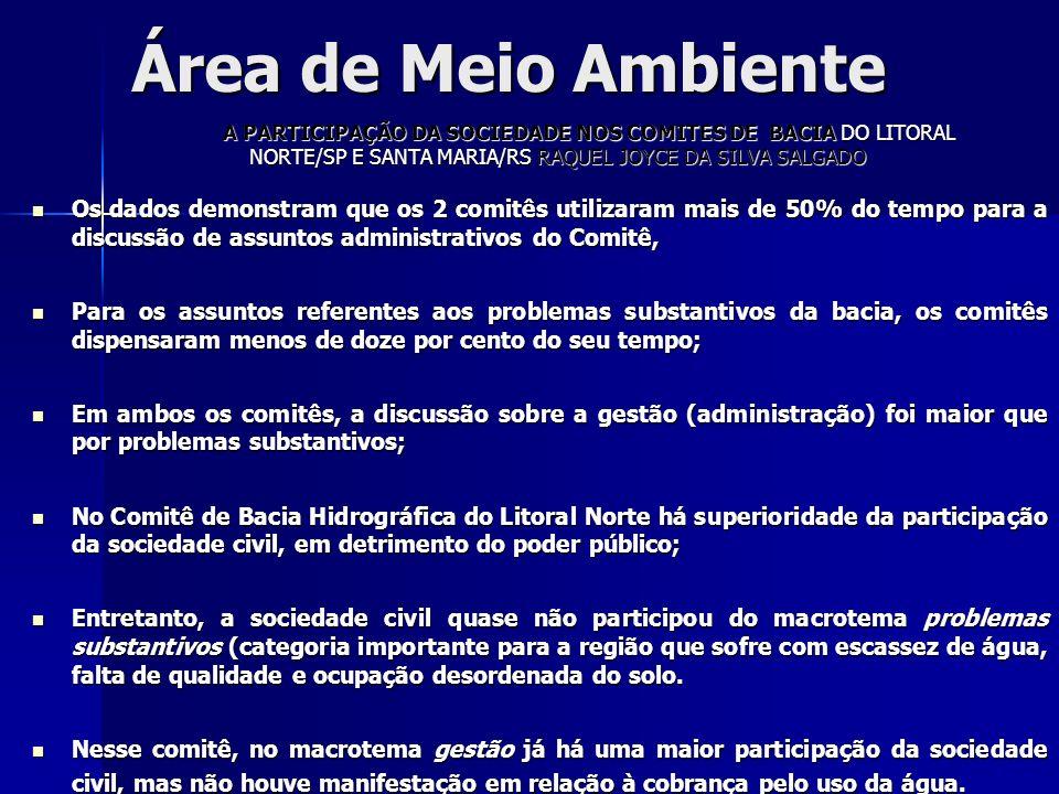 Área de Meio Ambiente A PARTICIPAÇÃO DA SOCIEDADE NOS COMITES DE BACIA DO LITORAL NORTE/SP E SANTA MARIA/RS RAQUEL JOYCE DA SILVA SALGADO Os dados dem
