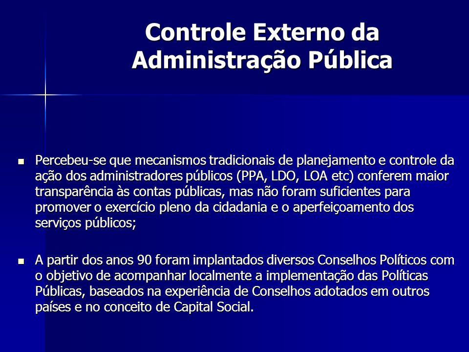 Percebeu-se que mecanismos tradicionais de planejamento e controle da ação dos administradores públicos (PPA, LDO, LOA etc) conferem maior transparênc
