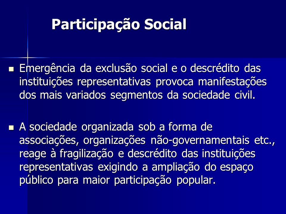 Emergência da exclusão social e o descrédito das instituições representativas provoca manifestações dos mais variados segmentos da sociedade civil. Em