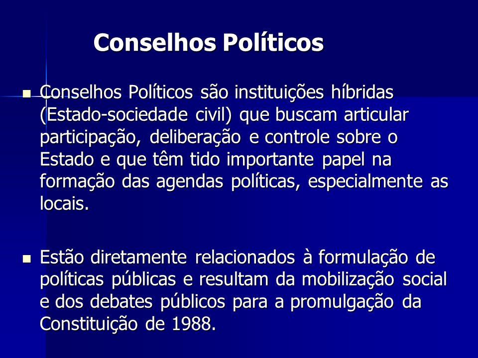 Conselhos Políticos Conselhos Políticos são instituições híbridas (Estado-sociedade civil) que buscam articular participação, deliberação e controle s