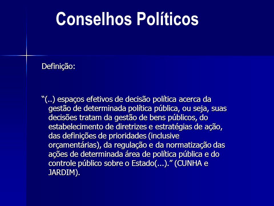 Definição: (..) espaços efetivos de decisão política acerca da gestão de determinada política pública, ou seja, suas decisões tratam da gestão de bens