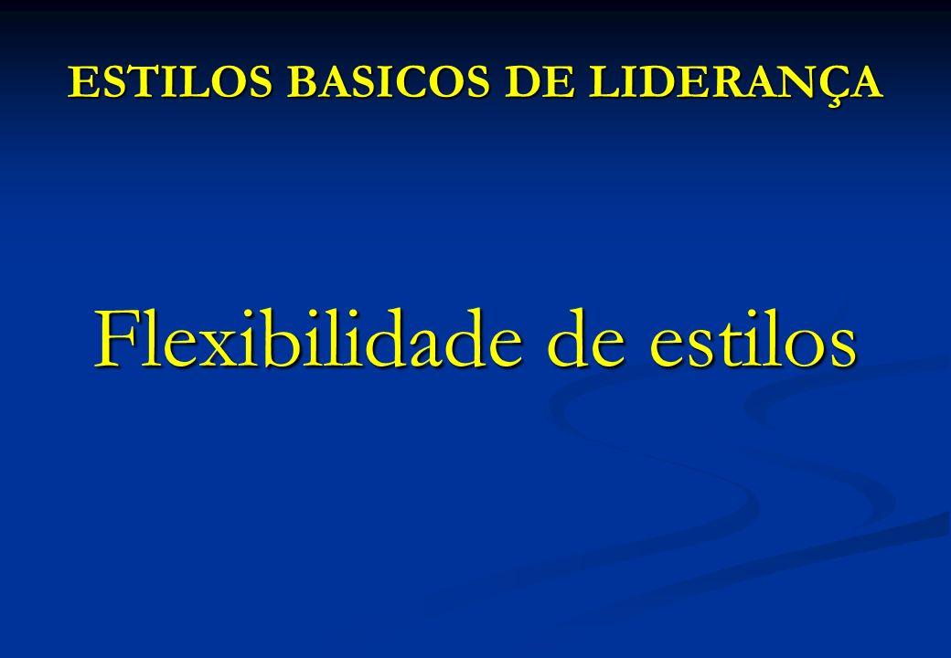 ESTILOS BASICOS DE LIDERANÇA Flexibilidade de estilos