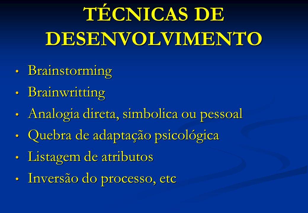 TÉCNICAS DE DESENVOLVIMENTO Brainstorming Brainstorming Brainwritting Brainwritting Analogia direta, simbolica ou pessoal Analogia direta, simbolica o
