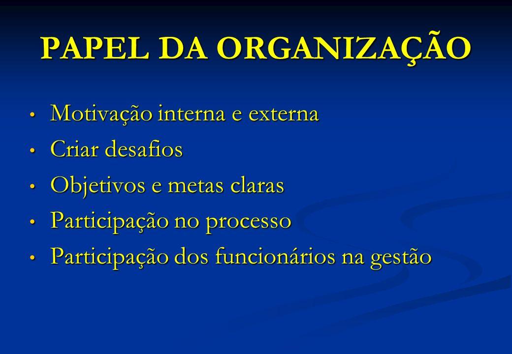 PAPEL DA ORGANIZAÇÃO Motivação interna e externa Motivação interna e externa Criar desafios Criar desafios Objetivos e metas claras Objetivos e metas