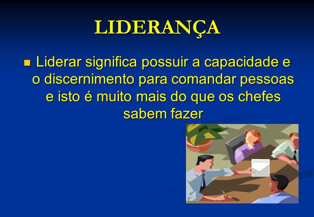 LIDERANÇA Liderar significa possuir a capacidade e o discernimento para comandar pessoas e isto é muito mais do que os chefes sabem fazer Liderar sign