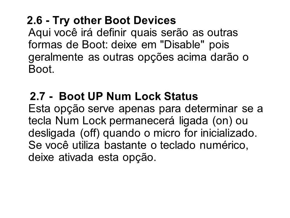 2.6 - Try other Boot Devices Aqui você irá definir quais serão as outras formas de Boot: deixe em
