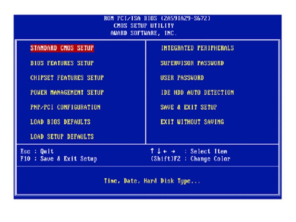 Agora vamos ver o que algumas opções representam para o funcionamento do computador: 1 - Standard CMOS Setup (Standard Setup): Configurações do HD, drive de disquetes, drives de CD-ROM, data e hora.