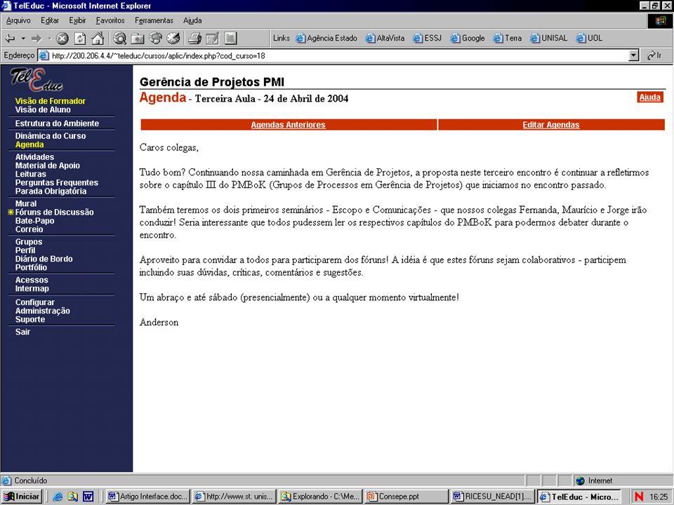 Processos de Aprendizagem a Distância no Centro Universitário Salesiano de São Paulo NE@D - Núcleo de Educação a Distância VISÃO PROSPECTIVA 2005