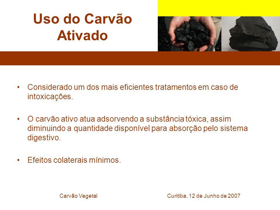 Curitiba, 12 de Junho de 2007Carvão Vegetal Uso do Carvão Ativado Considerado um dos mais eficientes tratamentos em caso de intoxicações. O carvão ati